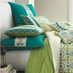 Outfit your guest room or master suite in chic style with this eye-catching comforter set, showcasing a bold medallion motif.   Product: Queen: 1 Comforter, 2 standard shams, 1 bed skirt, 1 square accent pillow, 1 large square accent pillow, 1 boudoir pillow and 2 euro shamsKing: 1 Comforter, 2 king shams, 1 bed skirt, 1 square accent pillow, 1 large square accent pillow, 1 boudoir pillow and 2 euro shamsConstruction Material: PolyesterColor: Green, teal and whiteFeatures:  Accent pillows…