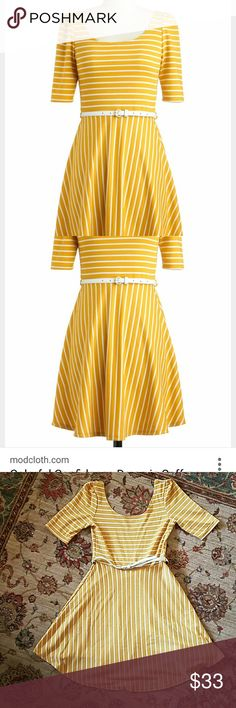 Yellow and white striped Mod cloth dress As always, smoke free home.  Belt included but not attached to the dress. You can switch out the belt, I also wore a gray one. I wear a small/ 4 this fits me fine.  Low back but you can wear a normal bra. Small wear shown in last picture, can't tell when wearing it. Very comfortable! Purchased from mod cloth. Brand pink owl. ModCloth Dresses