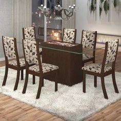 Conjunto Sala de Jantar Mesa Lina 6 Cadeiras Kiara Viero Choco/Medina