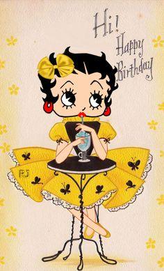 Happy Birthday Text, Birthday Posts, Birthday Pictures, Birthday Card Sayings, Birthday Wishes Funny, Birthday Greetings, Betty Boop Cartoon, Vintage Birthday, Funny Happy