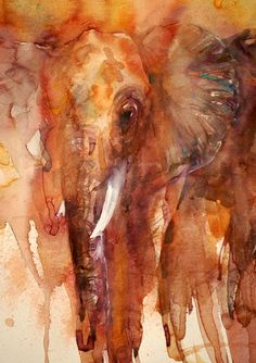 The Magic of Watercolour Painting Virtual Gallery - Jean Haines, Artist - Elephants #watercolor jd