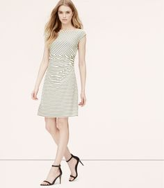 Stripe Side Shirred Dress | LOFT