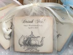 Alice in Wonderland Tea Party Favors Drink Me Tea Bags Fully Assembled Baby Shower Birthday Party by OnTheWingsPaperie on Etsy https://www.etsy.com/listing/262189841/alice-in-wonderland-tea-party-favors