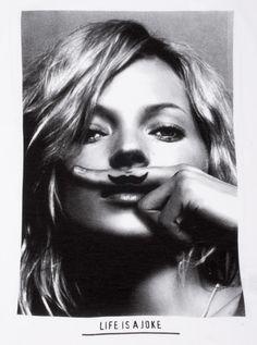 Kate Moss Moustache custom t-shirt design