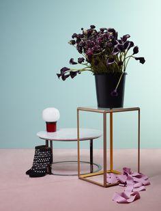 Metz & Racine.  Home.  Still Life.  Room Set.  Tables.  Pastel colours.  Accessories.  Flowers.