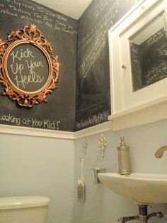 bathroom graffiti, guest bath - I really want a chalkboard wall - this is the place to do it! Bathroom Graffiti, Bathroom Wall, Basement Bathroom, Bathroom Interior, Graffiti Wall, Bathroom Humor, Deco Retro, Downstairs Toilet, Downstairs Cloakroom