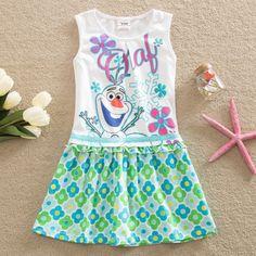 5.21$  Buy now - http://ali9oe.shopchina.info/go.php?t=32797716675 - children fashion girls clothes 2017 summer cartoon elsa little snowman dress girl dress kids clothes sleeveless dress for girl  #aliexpress