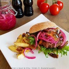 Edels Mat & Vin: HELT ViLT gode burgere med reinskav ♫ Hamburger, Tacos, Mexican, Ethnic Recipes, Hamburgers, Loose Meat Sandwiches