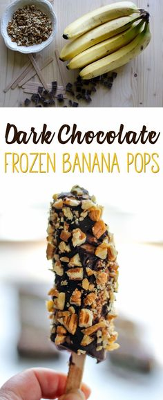 Ever had a frozen banana? They are creamy, sweet, and so much healthier than a normal ice cream bar. We dipped ours in dark chocolate and chopped pecans. via @Buy This Cook That