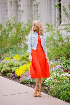 Modest Dress and Denim Jacket