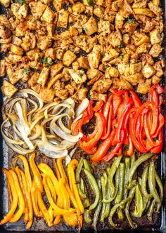 These easy Sheet Pan Chipotle Chicken Burrito Bowls are the perfect weeknight dinner or meal prep option. Tender chicken peppers onions and all the best burrito fixings in one hearty bowl. Click this pin to grab the full recipe and make these bowls ASAP! Lunch Recipes, Mexican Food Recipes, Real Food Recipes, Cooking Recipes, Healthy Recipes, Smoker Recipes, Rib Recipes, Healthy Ground Chicken Recipes, Mexican Bowl Recipe