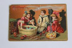 Vintage c1910 Bobbing for Apples Halloween Postcard - Tuck & Sons Series…