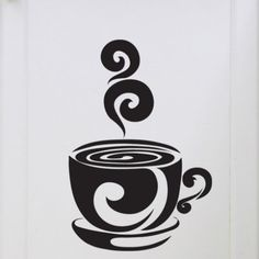 Cup of Coffee, Decal, Vinyl, Wall, Sticker, Home, Dining Decor ...
