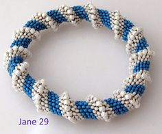 Sea Blue and White Cellini Spiral Beadweave by Jewelrybyjane29,