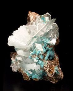 fuckyeahmineralogy:  Rosasite, Calcite, and Hemimorphite; Mapimi, Durango, Mexico