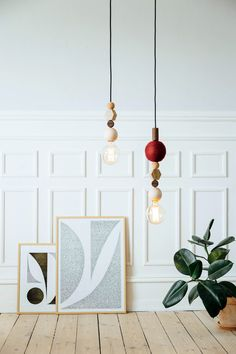 HAENG is a Danish brand featuring pendant lighting made up of geometric modules in varying materials, like wood, cork, hardened glass, and handmade felt.