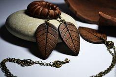 """Купить Серьги и подвеска """"Природная керамика"""" (полимерная глина) - коричневый…"""