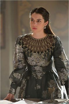 "Reign -- ""No Way Out"" -- Image Number: -- Pictured: Adelaide Kane as Mary, Queen of Scots -- Photo: Ben Mark Holzberg/The CW -- © 2016 The CW Network, LLC. All rights reserved. Reign Season, Season 3, Marie Stuart, Reign Mary, Reign Dresses, Reign Fashion, Adelaide Kane, Medieval Dress, The Cw"
