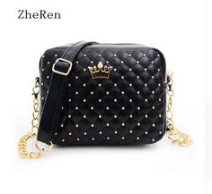 bags for women 2016 Hot Sale Women Pu Zipper Rivet Crossbody Women Bag #>=#>=#>=#>=#> Click on the pin to check out discount price, color, size, shipping, etc. Save and like it!