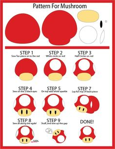 Mario Mushroom - Easier Version for G-con by Mokulen22 #freeplushpatterns