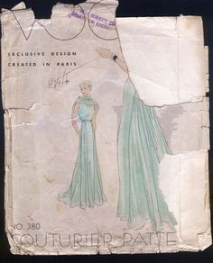 1930 Vogue Couturier 380 Ladies' Evening Gown Sz14 B32 H35 Env very poor; Instr fragile/separated along fold.complete except missing the front & back stay & the shoulder straps for dress & slip 105.5+4 5bds 8/9/14