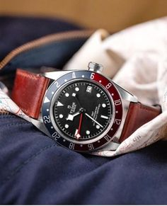 Tudor Black Bay GMT Pepsi introduced at Bazelworld 2018 Iwc Watches, Cool Watches, Watches For Men, Tudor Heritage Black Bay, Tudor Black Bay, Pepsi, Best Looking Watches, Rolex Tudor, Time And Tide