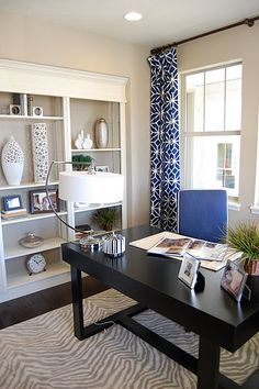 office love the drapes hung where the ceiling meets the wall [drapes: Trina Turk's Trellis Print Marine]