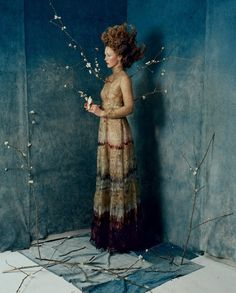 Photography //Vogue US September 2015. Adore this painterly image incorporating wisps of nature (bird,branch,blossoms) and couture.