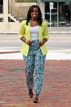 Curves and Confidence | Inspiring Curvy Fashionistas One Outfit At A Time: Neon & Water Colors