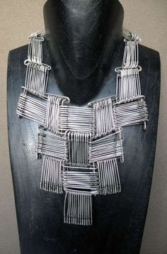 Recycled Jewellery - necklace made from repurposed safety pins; alternative materials; sustainable fashion // Clémence Heugel