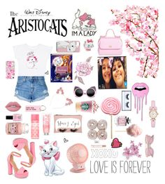 """""""Marie (Aristocats)"""" by mintmila ❤ liked on Polyvore featuring Disney, Nobody Denim, Chinese Laundry, Casetify, Yankee Candle, Victoria's Secret PINK, Avon, Lime Crime, Accessorize and Dolce&Gabbana"""