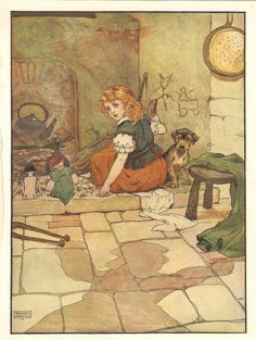 Frank Adams 1910s Nursery Rhyme Print - Little Polly Flinders Art Illustration Red Haired Girl And  Terrier Dog Sitting In Cinders Fireplace