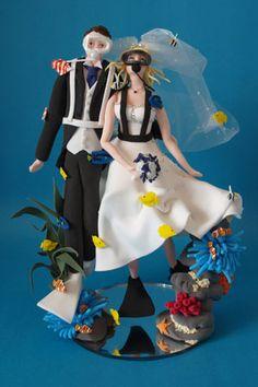 Scuba Diving Bride And Groom Wedding Cake Topper