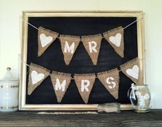 MR & MRS Wedding Chair Sign Triangle Burlap Flag Bunting Banner by SweetThymes, $29.99