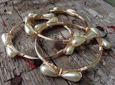 Pearl bow bangle by YankeeBelleCo on Etsy  Bridal style!