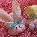 "Washcloth bunnies to hold a Cadbury creme egg!  Or use as ""boo boo bunnies"" ... also links for roses and chicks."