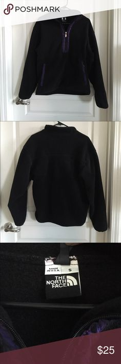 North Face Half-Zip Pullover Size Small Black polar fleece half-zip pullover with purple trim and pockets in the front. Gently worn and has pilling throughout, but still has plenty of life left. Price reflects wear. No trades or Paypal. North Face Tops Sweatshirts & Hoodies