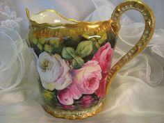 "French Limoges Lemonade Cider Pitcher  ~ ~ Victorian Roses ~ Artist Signed ""Louis"" Circa 1900"