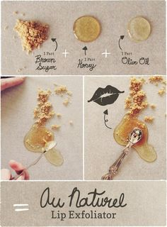 Homemade lip exfoliator using brown sugar, olive oil, and honey + a slideshow of 50 of the best diy beauty treatments. : Homemade lip exfoliator using brown sugar, olive oil, and honey + a slideshow of 50 of the best diy beauty treatments. Diy Beauté, Diy Spa, Diy Crafts, Easy Diy, Simple Diy, Beauty Secrets, Beauty Hacks, Beauty Ideas, Homemade Beauty Products