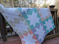Modern Star Light quilt by Lovedquilts on Etsy, $90.00