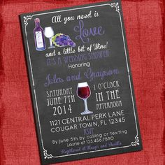 Printable Wine theme Couples/Coed Wedding Shower by PuzzlePrints, $15.00