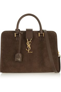 SAINT LAURENT Monogramme Cabas leather-trimmed suede tote $2,490