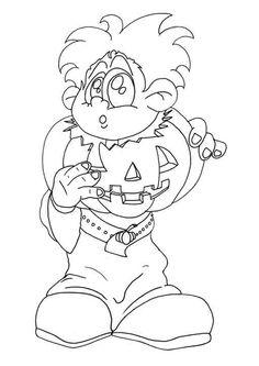 Le dessin d'un garçon déguisé en citrouille à colorier.
