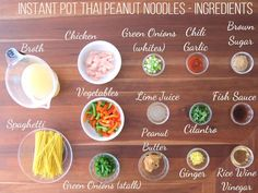 Instant Pot Thai Peanut Noodles Ingredients- broth, chicken, green onions, chili garlic, brown sugar, vegetables, lime juice, cilantro, fish sauce, spaghetti, peanut butter, ginger, rice wine vinegar - Paint the Kitchen Red