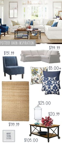 Pottery Barn White Couch & Jute Rug - Living Room on a Budget. Another Pottery Barn Living Room done on the cheap! Living Room Decor Ideas Click image to read more details. Coastal Living Rooms, Rugs In Living Room, Home And Living, Jute Rug Living Room, New Living Room, Home, Barn Living, Pottery Barn Living Room, Home Decor