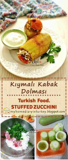 KIYMALI KABAK DOLMASI / TURKISH STUFFED ZUCCHINI | Çitra's Home Diary. #turkishfood #stuffedzucchini #stuffedpepper #mediterraneanfood #resepmasakanturtki #turkishfoodrecipe #dinnerrecipe Fun Recipes, Delicious Recipes, Dinner Recipes, Turkish Recipes, Favorite Recipes, My Favorite Food, Good Food, Yummy Food, Zucchini