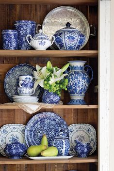 Crafted in Staffordshire, an area historically recognized as the heart of British ceramic manufacturing, Burleigh china is a collector favorite. Find Blue Calico and other fine patterns in our new book, Our Hearts Are in England. Blue Rooms, Blue White Decor, Decor, Blue Decor, Bookcase Decor, White Decor, Blue Dishes, Blue And White, Home Decor