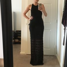 Alice + Olivia Black Gown NWT - still deciding if I want to keep it. It's VERY long. I'm 5'8 and wearing heels in the pictures. So you most likely will have to get it shortened. Stunning dress. Size 2 Alice + Olivia Dresses