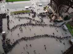 Lines for the Eiffel Tower in Paris, France