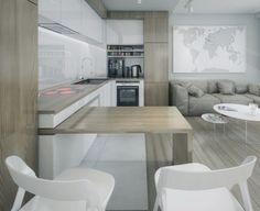 aire-ouverte sol armoires bar plan travail cuisine bois stratifié